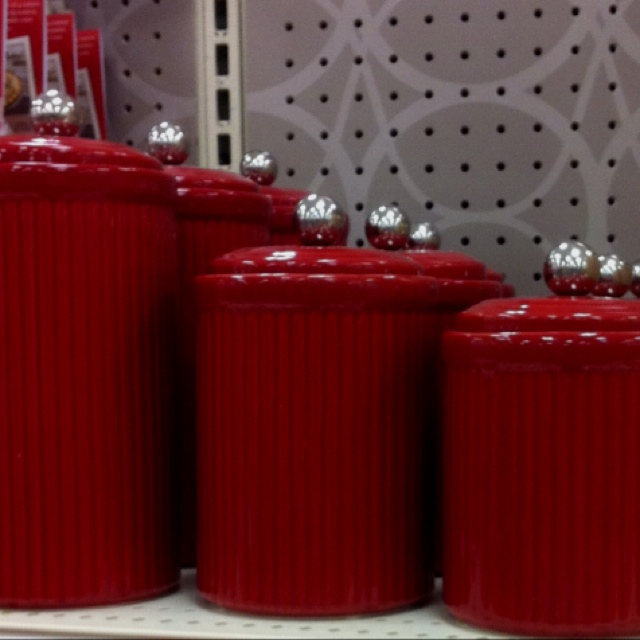 Red kitchen canister sets home design ideas and pictures for Kitchen set red