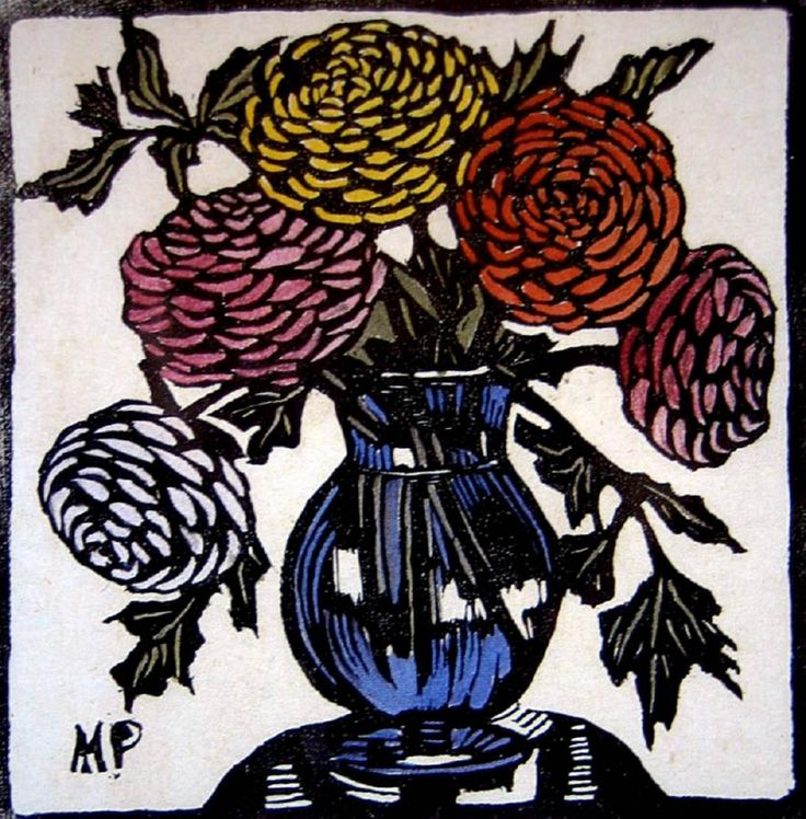 Ranunculus Hand coloured woodblock print, 20.5 x 19 cm by Margaret Rose (MacPherson) Preston (1875-1963) Australia