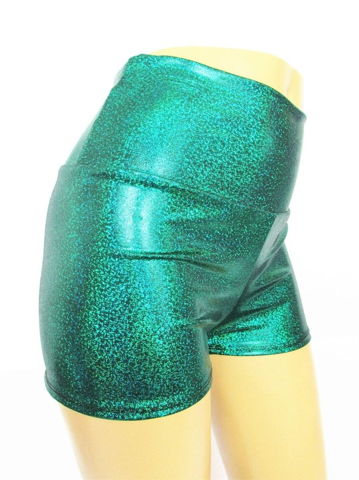 Shorts Green Mermaid Sparkle Print Spandex Fabric Yoga Beach