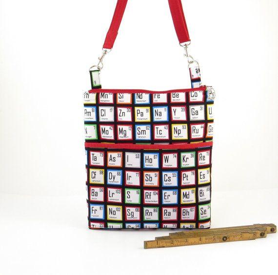 Periodic table bag, science geek bag, womens science bag, crossbody science bag, small hip bag, science nerd bag, primary colors bag