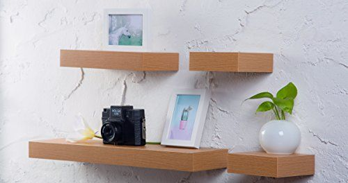 O&K Furniture 4-Piece Oak Multilength Floating Ledge Shelves