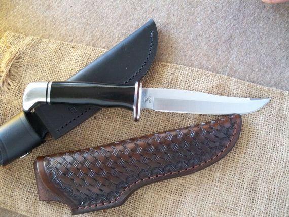 Buck 105 knife with handmade hand tooled leather sheath custom knives