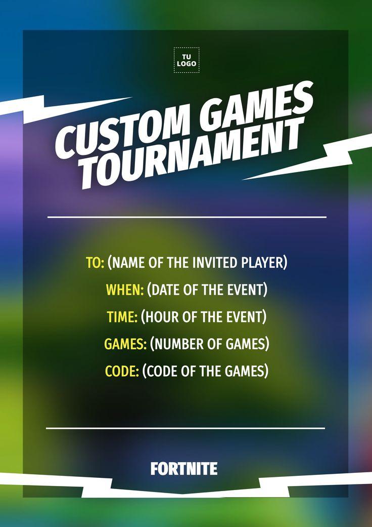 Custom games tournament editable fortnite template in 2021