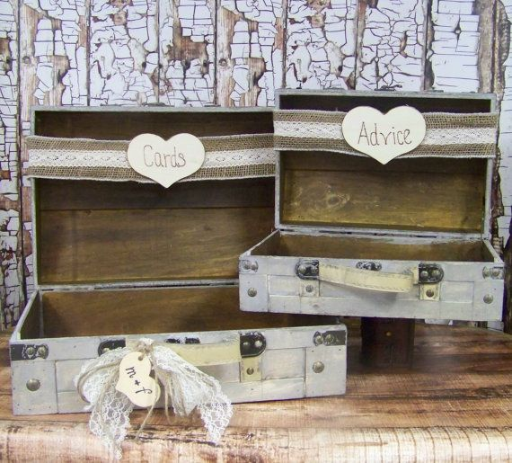 Wedding Card Box and Advice Box with Burlap by sugarplumcottage, $88.00