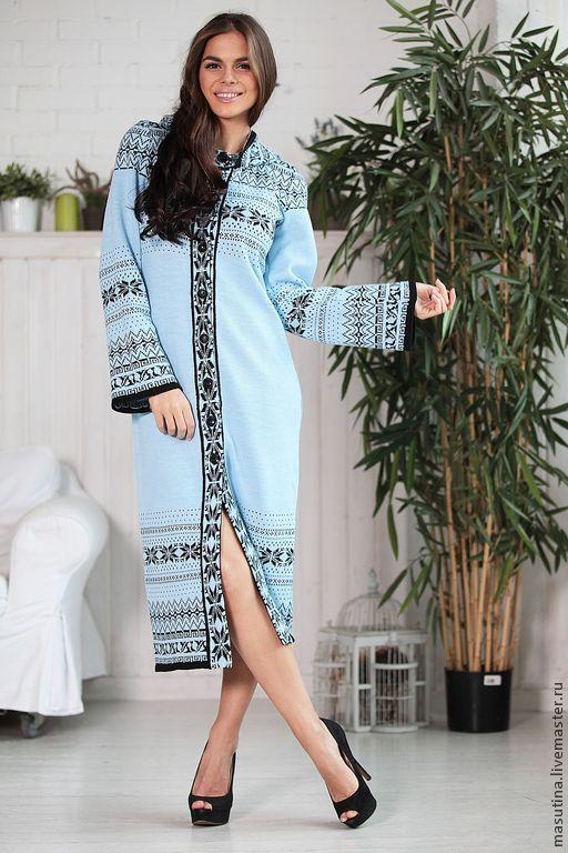 """Купить Пальто """"Matrioshka"""" - голубой, Жаккардовый узор, жаккард, пальто, вязаное пальто, жаккардовое пальто"""