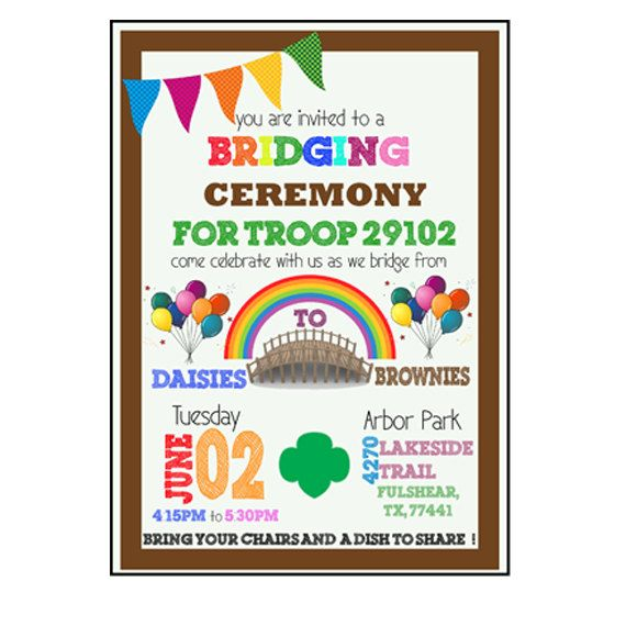 Girl Scout Bridging Ceremony Invitation by PartySociety on Etsy