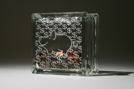 Etched Quot Piggy Bank Quot Bank Glass Block This Can Make A Fun Craft Item Or Gift For A Young Child
