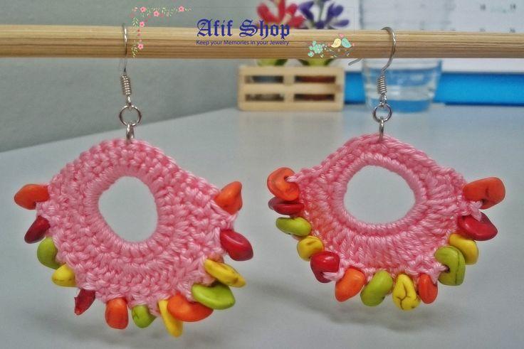 SUPER SALE /Pink Crochet Earrings /Rainbow earrings /Textile Accessories /Boho…