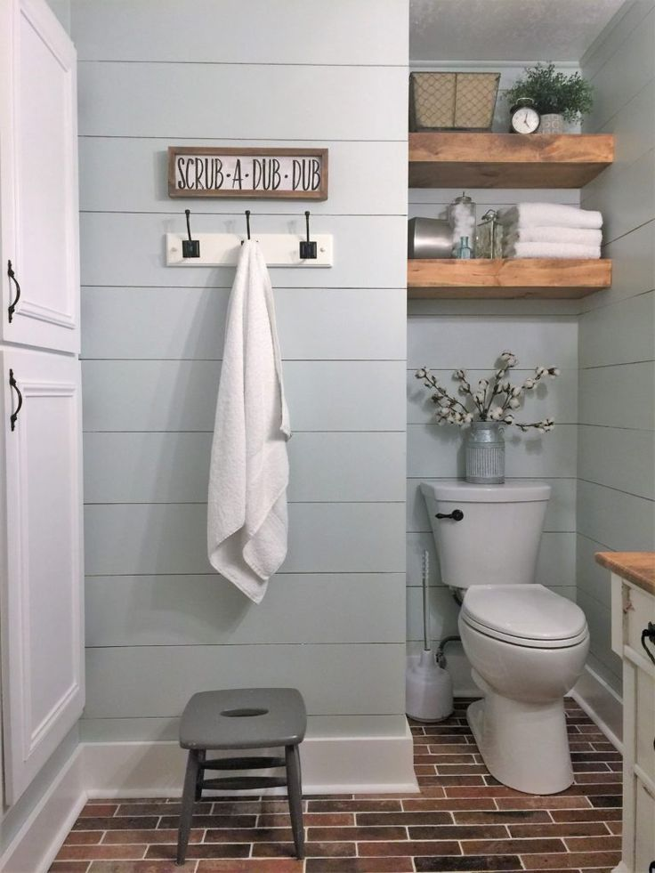How To Install Shiplap In 4 Simple Steps Joyful Derivatives Small Farmhouse Bathroom Modern Farmhouse Bathroom Farmhouse Bathroom Decor
