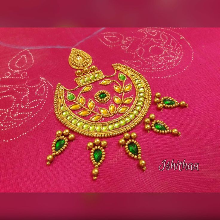 Ishithaa  chandbali design on  cold shoulder blouse  work on progress .Ping  on 9884179863 to book an appointment for your bridal couture needs . 31 May 2017