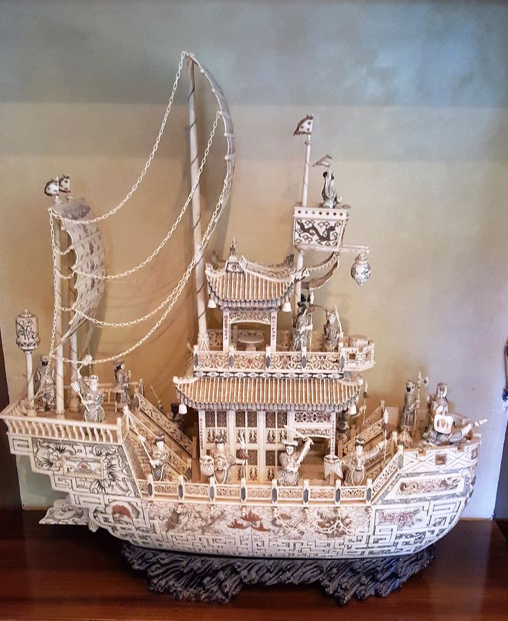 Hand Carved Chinese Boat