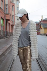 Glitter pants and fluffy coat