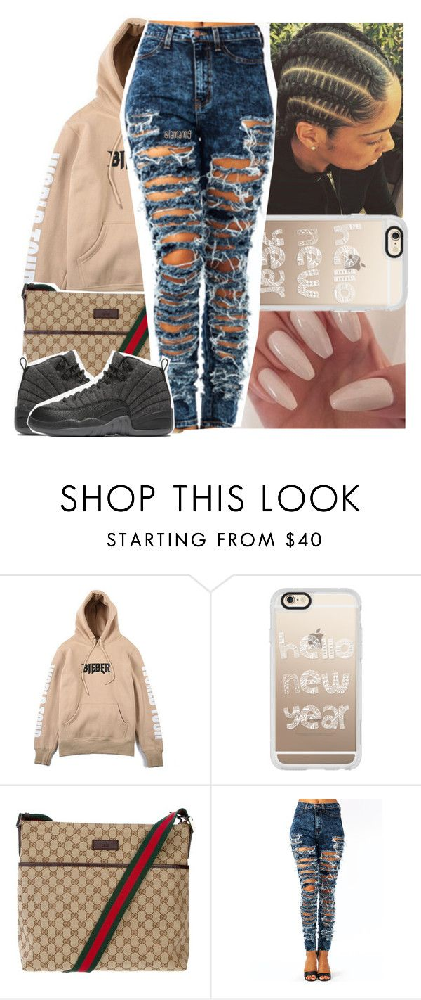 """watching final destination"" by lamamig ❤ liked on Polyvore featuring Justin Bieber, Casetify, Gucci and NIKE"