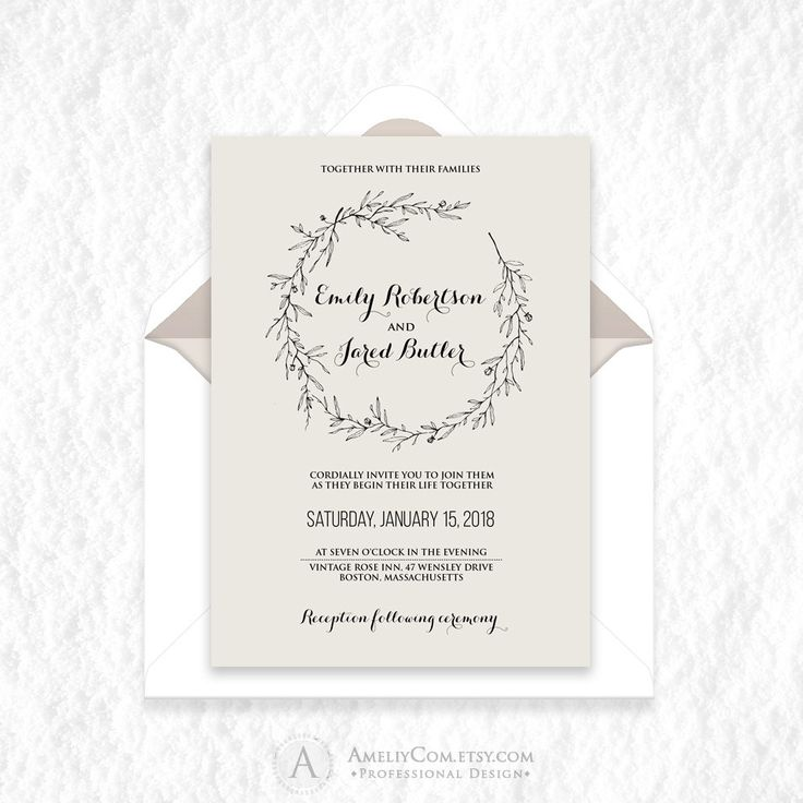Wedding Spring Rustic Invitation Printable Natural Minimal Wedding Invite Natural Herbs Wreath Wedding DOWNLOAD Editable PDF Template Kraft
