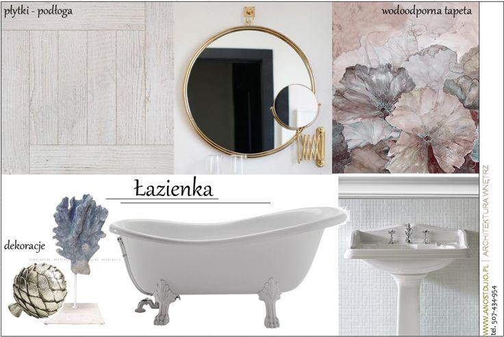 Wyposażenie łazienki w stylu klasycznym z odrobiną innowacyjnych rozwiązań jak np. wodoodporna tapeta.