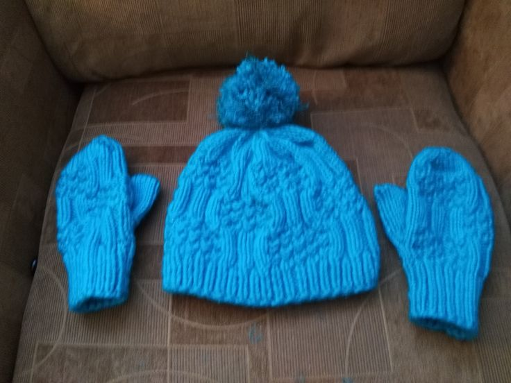 Knitted hat and mittens part of winter coat set for 8 year old girl