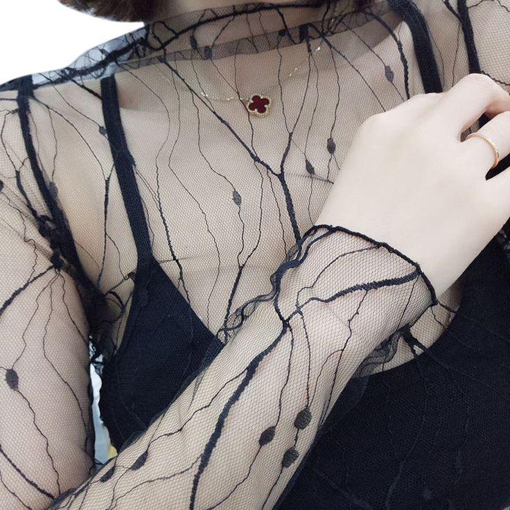 Womens Sexy Mesh Tops Transparent Sheer Blouse Femme Long Sleeve Ladies Office Shirt 2017 Summer Beach Wear Plus Size Blusas #shoes, #jewelry, #women, #men, #hats, #watches, #belts
