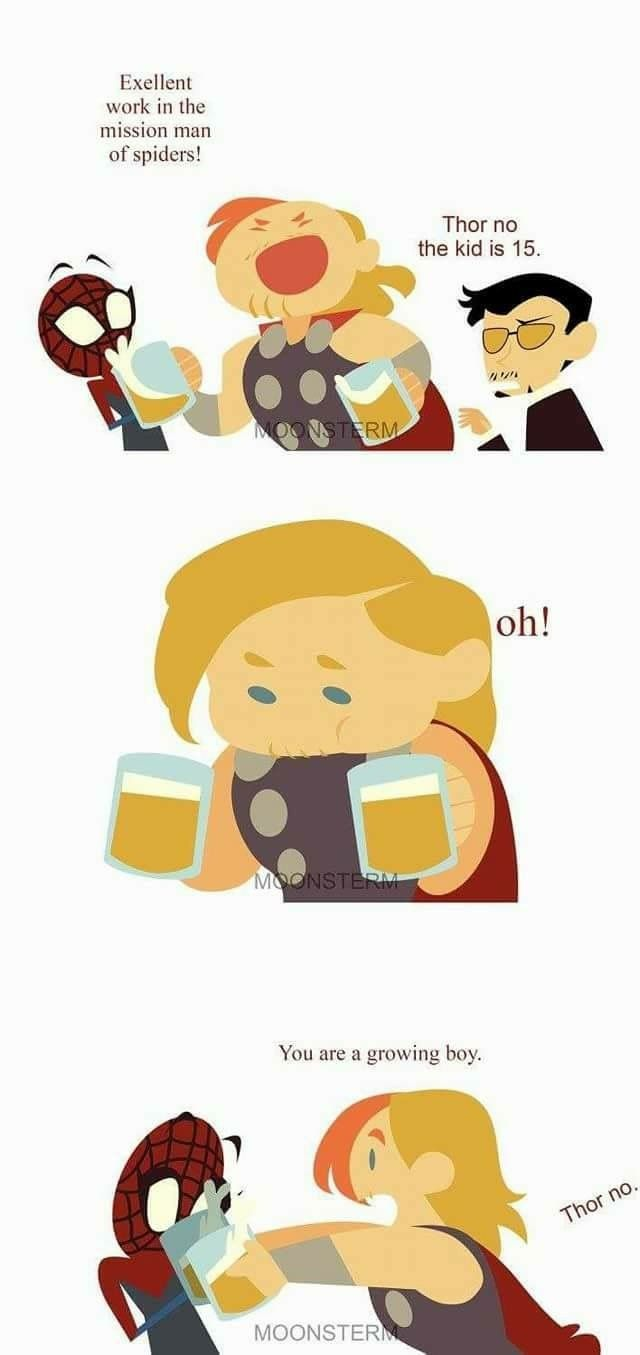 I love when people illustrate text posts! -- Thor giving Spider-Man beer.