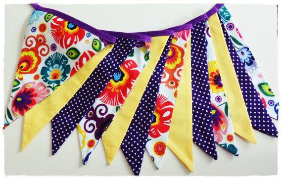 Folk Garland  - Bunting Banner . Flag Bunting . Pennant Banner . Flag Garland . Party Decoration . Fabric Bunting