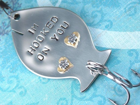 Personalized fishing lure i 39 m hooked on you by for Personalized fishing lure