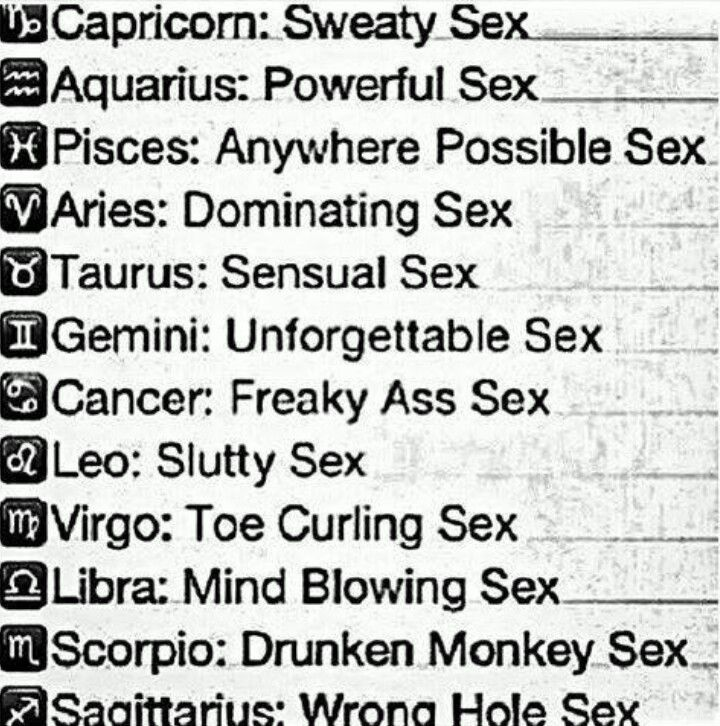 Zodiac sign sex chart