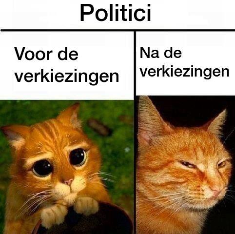 Dit plaatje laat zien dat politici zich voor de verkiezingen onschuldig voordoen en na de verkiezingen vaak hun beloften niet nakomen. Door Ilse