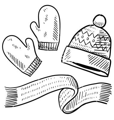 Doodle winter mittens hat scarf vector image on