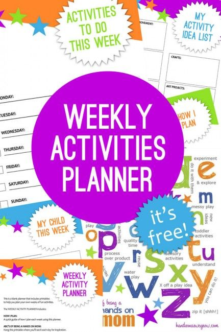 A free printable planner for activities to do every week with the kids