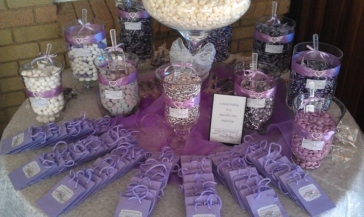 Purple Candy Buffets Are you planning a baby shower, wedding or a birthday party? Thinking about putting up a candy bar? If so, thanks for stopping! We have collected some pictures and products that we hope will help you in planning your special event!  Purple Candy Buffet by foodwallpaper.info       Beautiful Purple Candy Buffet by blovelyevents.com  Purple and Blue Candy Buffet by www.sweetdaybuffet.com   Blue and Purple Candy Bar by www.sweetdaybuffet.com  Purple and Silver Candy Buffet…