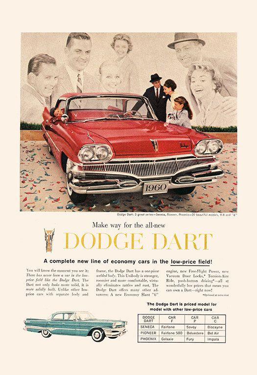 1960 DODGE DART AD Retro Car Ad Dodge Car by EncorePrintSociety