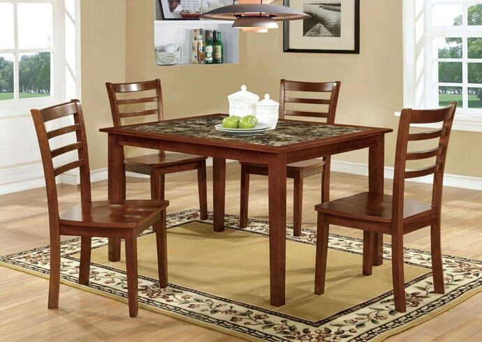 """5 pc Fordville I collection transitional style antique oak finish wood dining set with faux marble finish top. This set includes the table with 4 side chairs. Table measures 36"""" x 48"""" x 30"""" H. Side chair measures 18"""" x 20 1/4"""" x 39"""" H.   Some assembly required."""