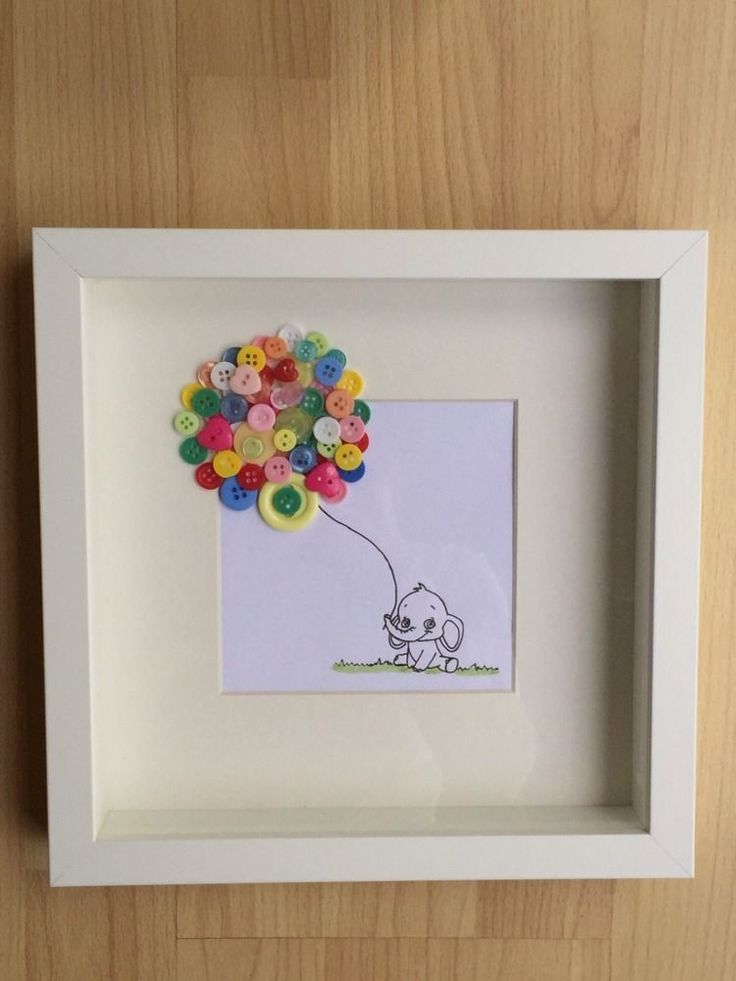 Button Art Picture framed lovely gift for new baby, birthdays or christenings
