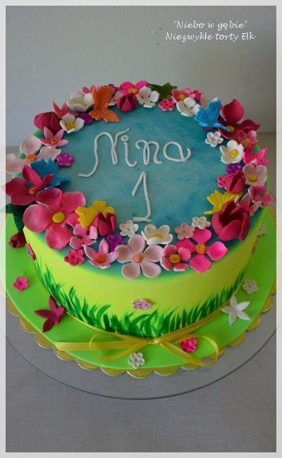 #tort #kwiaty #neonowytort #roczek