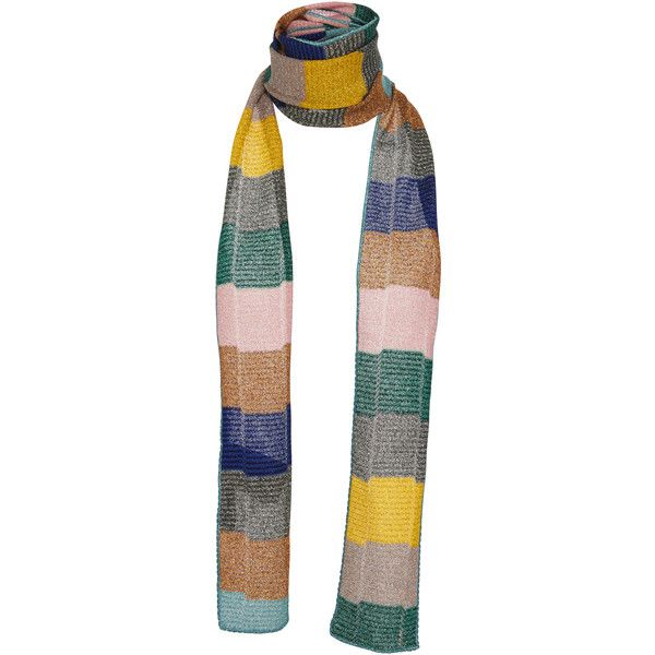 Missoni Metallic Striped Scarf ($325) ❤ liked on Polyvore featuring accessories, scarves, multi, missoni scarves, missoni shawl, metallic scarves, missoni and striped scarves