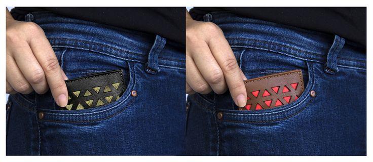 Tarjetero de bolsillo, hecho en Chile.