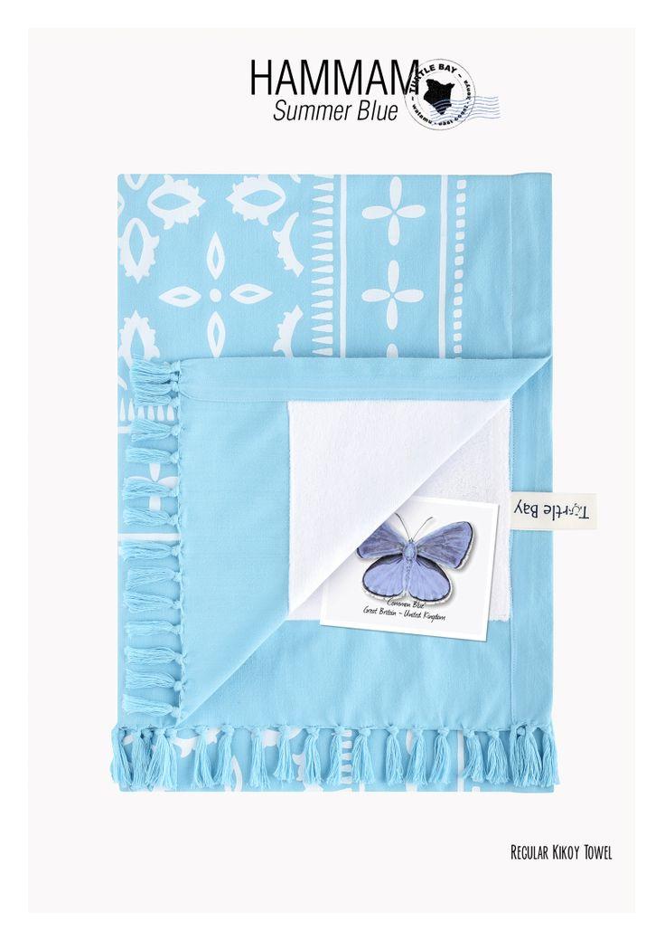 Printed Kikoy : Hammam Summer Blue