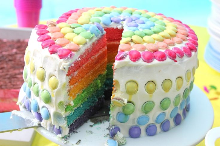 Rainbow cake enfants pinterest g teaux arcs en ciel for Decoration gateau licorne