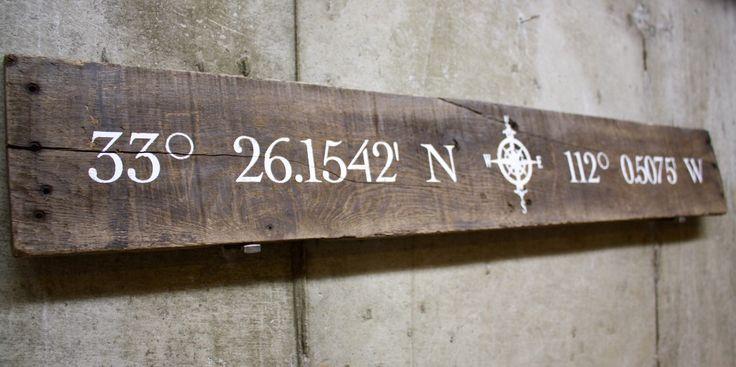 Wood Pallet Slat Sign - custom latitude longitude compass sign. Housewarming, wedding gift.... by GlampAndGritDesign on Etsy https://www.etsy.com/listing/230931869/wood-pallet-slat-sign-custom-latitude