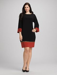 Plus Size Chain Trim Shift Dress | Dressbarn