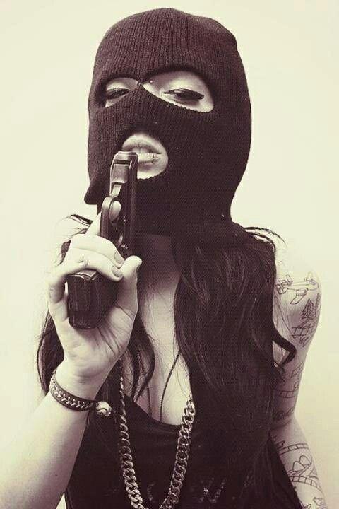 Black and white photography. Bad. Guns + Ski masks. Hardcore. Chain. fashion