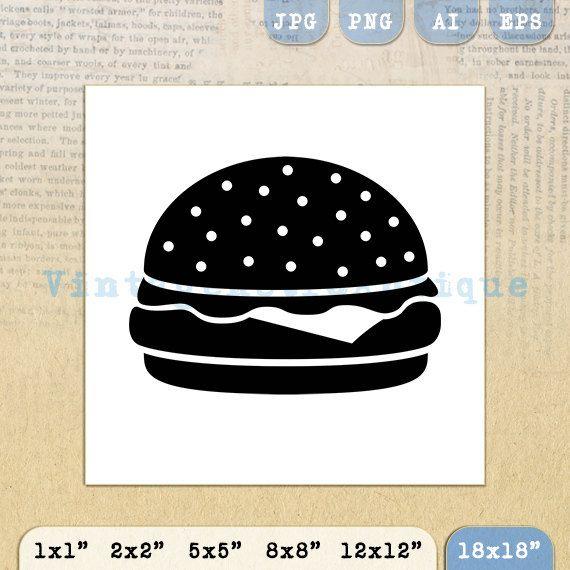 Printable Digital Hamburger Image Download by VintageRetroAntique