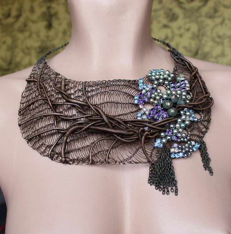 "The OOAK Bib ""Encantado"" Necklace Copper Wire Crocheted with Swarovski and Metal."