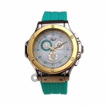 Γυναικείο μοντέρνο sport quartz ρολόι της ANGEL με λευκό καντράν, δίχρωμη κάσα & πράσινο καουτσούκ   Ρολόγια ANGEL στο κατάστημα ΤΣΑΛΔΑΡΗΣ Χαλάνδρι #angel #πρασινο #σιλικονη #γυναικειο #ρολοι
