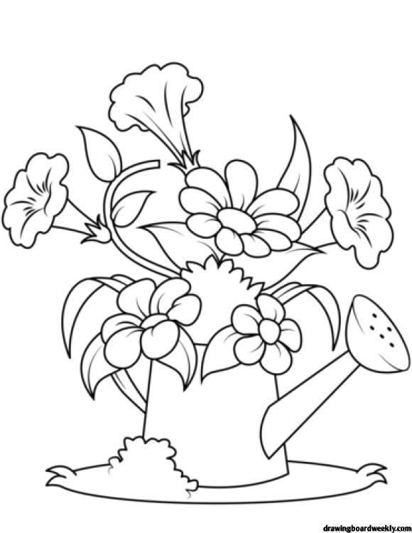 Watering Can Coloring Page Flower Coloring Pages Flower Coloring Sheets Coloring Pages