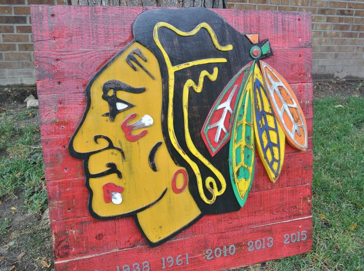 Chicago Blackhawks NHL logo, reclaimed wood, hockey, man cave, woman cave, sports bar decor, Illinois, hawks by CraigMoodieDesigns on Etsy