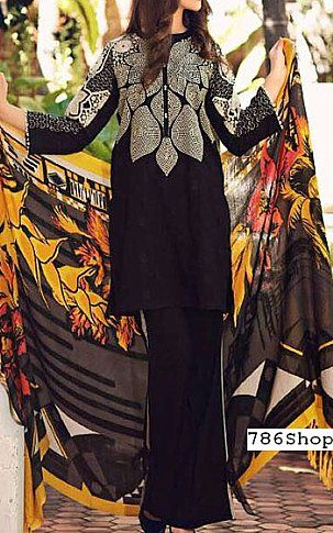 Black Leather Jacquard Suit | Buy Charizma Pakistani Dresses and Clothing online in USA, UK