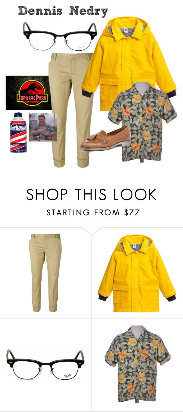 """Dennis Nedry Costume - Jurassic Park"" by ashleigh-kuzio on Polyvore featuring Dsquared2, Petit Bateau, Ray-Ban and River Island"