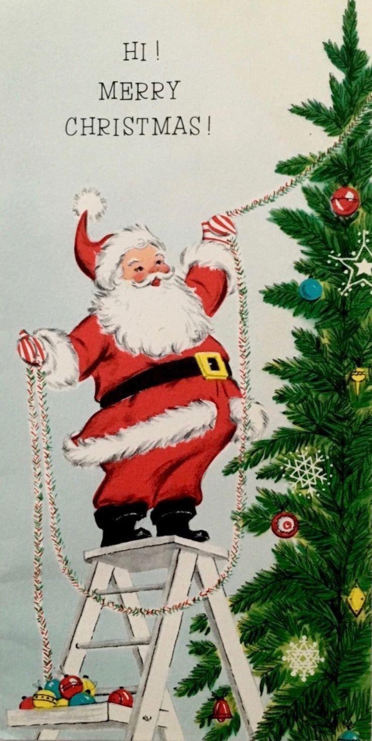 Vintage Merry Christmas, Retro Christmas Card