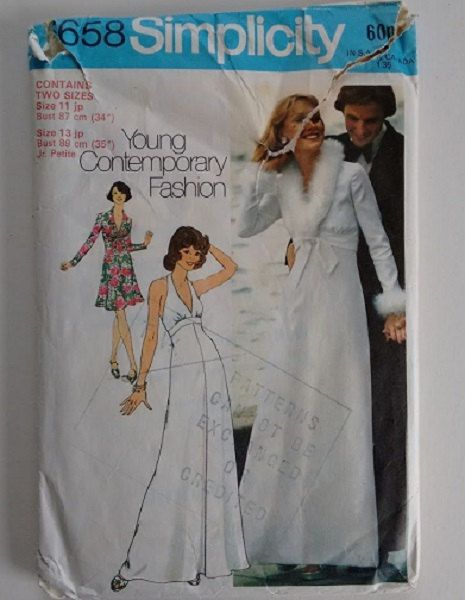 Vintage 1970's Simplicity 6658 Sewing Pattern Winter Summer Evening Wedding Dress Gown with Coat Bridesmaid by CartrefEclectig on Etsy