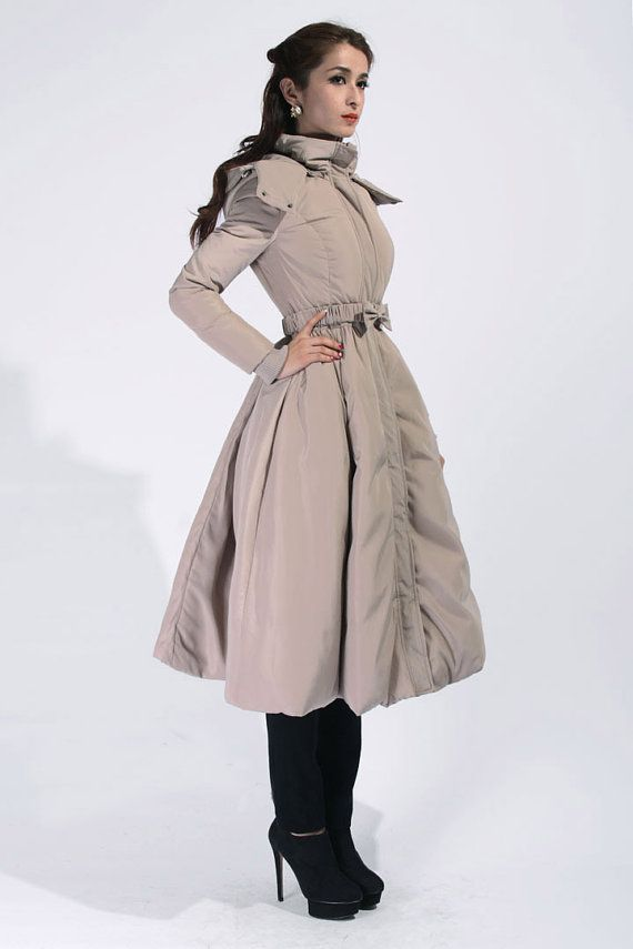 Khaki Long Parka with Hood / Down Filled Long Coat / Big Sweep ...